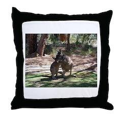 kangaroo mum tickles me Throw Pillow