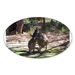 kangaroo mum tickles me Oval Sticker