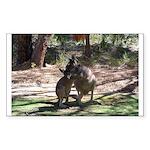 kangaroo mum tickles me Rectangle Sticker