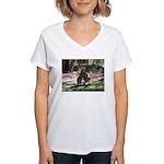 kangaroo mum tickles me Women's V-Neck T-Shirt