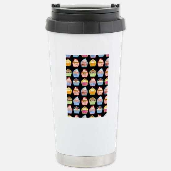 Cute Cupcakes On Black  Stainless Steel Travel Mug