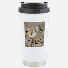 Sand Piper and Seashell Stainless Steel Travel Mug