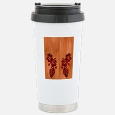 Faux Wood Hibiscus Stainless Steel Travel Mug