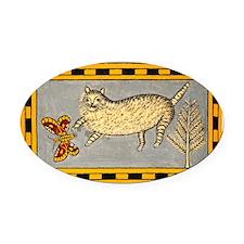 Folk Art Cat Oval Car Magnet