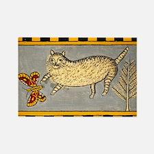 Folk Art Cat Rectangle Magnet