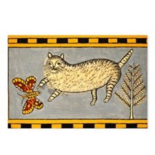 Folk Art Cat Postcards (Package of 8)