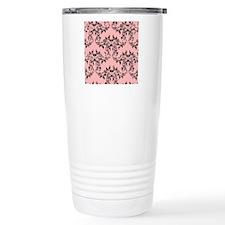Black on Pink Damask Thermos Mug