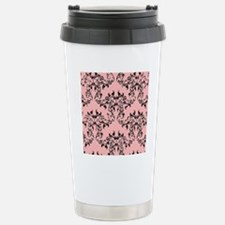 Black on Pink Damask Thermos Mug