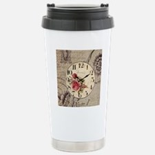 vintage clock floral bu Travel Mug