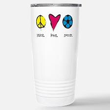 Peace. Love. Soccer. Stainless Steel Travel Mug
