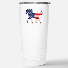 American Flag Horse Stainless Steel Travel Mug