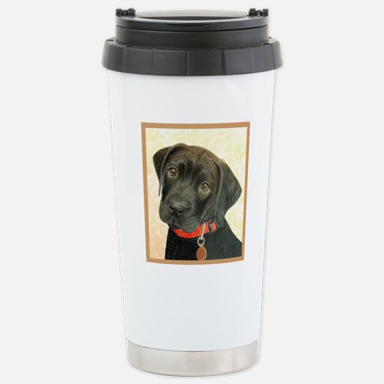 Black Labrador Puppy Po Stainless Steel Travel Mug