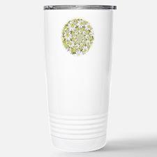 Fractal White daisy Spiral2 Travel Mug