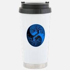 Blue and Black Yin Yang Tree Travel Mug