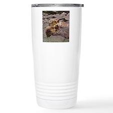 Sea Otters Holding Hands Travel Mug