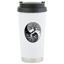 White and Black Yin Yang Tree Travel Mug
