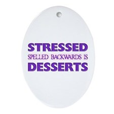 Stressed Desserts Oval Ornament