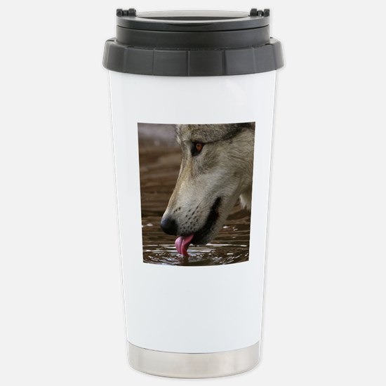 Thirsty, But Watchful Stainless Steel Travel Mug