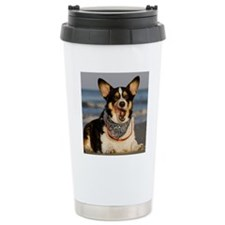 Cute Corgi Licking his  Travel Coffee Mug