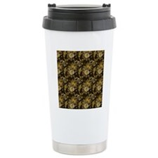 Gold and Brown Paisley Travel Coffee Mug