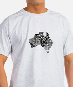Australia Shaped Hand Drawn Doodle Design T-Shirt