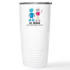 42 Year Anniversary Robot Couple Travel Mug