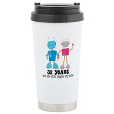 32 Year Anniversary Robot Couple Travel Mug
