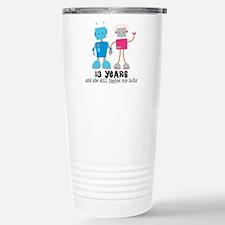 13 Year Anniversary Robot Couple Travel Mug