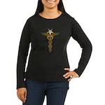 OES Caduceus Women's Long Sleeve Dark T-Shirt