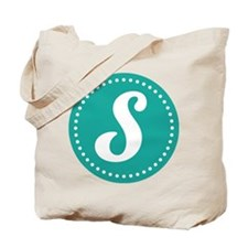 Letter S Monogram Initial teal Tote Bag
