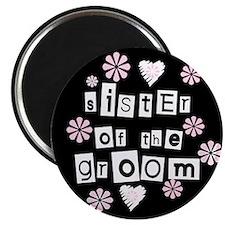 Sister of Groom (black) Magnet