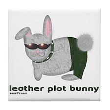 Leather Plot Bunny Tile Coaster