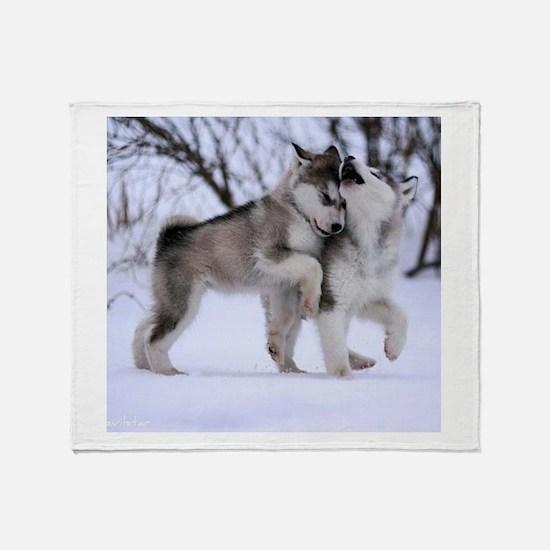 Cute Wolf Throw Blanket