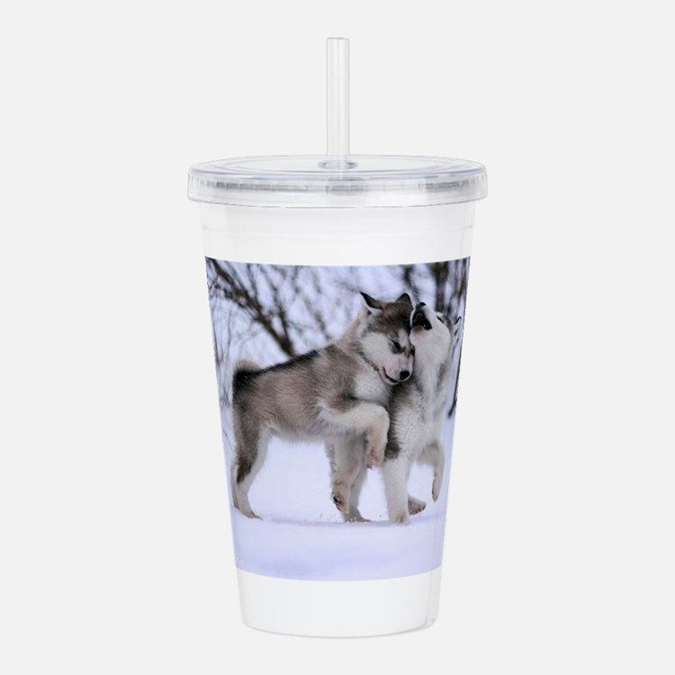 Cute Wolves Acrylic Double-wall Tumbler