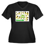 What Cicada Women's Plus Size V-Neck Dark T-Shirt
