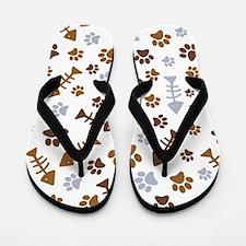 Cat Paw Prints Pattern Flip Flops