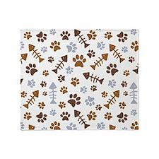 Cat Paw Prints Pattern Throw Blanket