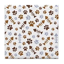 Cat Paw Prints Pattern Tile Coaster