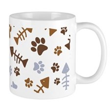 Cat Paw Prints Pattern Small Mug