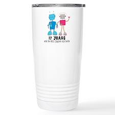 17 Year Anniversary Robot Couple Travel Mug