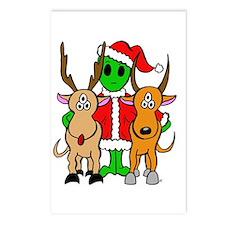 Green Alien Santa Christmas Postcards (Package of