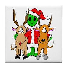 Green Alien Santa Christmas Tile Coaster