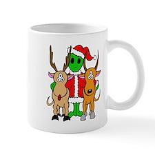 Green Alien Santa Christmas Mug