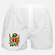 Green Alien Santa Christmas Boxer Shorts