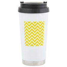 Yellow and White chevro Thermos Mug