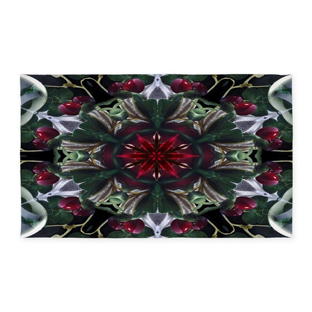 Christmas Berry Wreath 3'x5' Area Rug By MoodyMuse