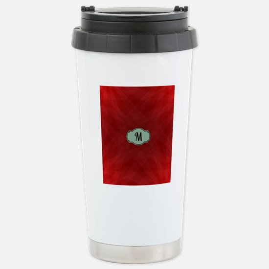 "Monogram ""M"" on red abs Stainless Steel Travel Mug"