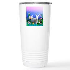 White Bunny with Flower Travel Mug