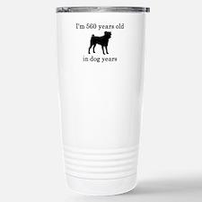80 birthday dog years pug Travel Mug