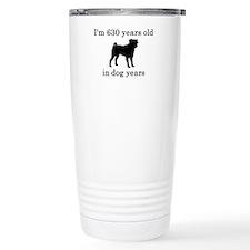 90 birthday dog years pug Travel Mug
